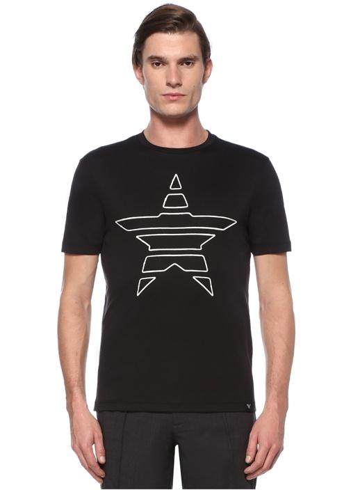 Siyah Kontrast Yıldız İşlemeli Basic T-shirt