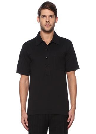 Dries Van Noten Erkek Siyah Polo Yaka Cepli T-shirt L EU male