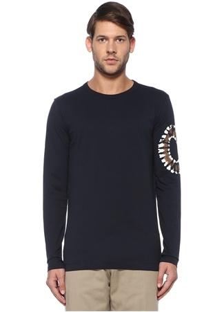 Lacivert Kolu Etnik Desen Baskılı BasicSweatshirt