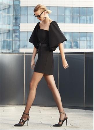 Academia Kadın Siyah Omzu Açık Balon Kol Mini Elbise 34