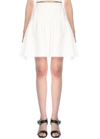 Academia Kadın Beyaz Fisto Garnili Asimetrik Kesim Mini Etek 34 female