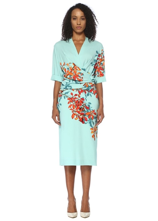Darmina Mavi Çiçekli Drapeli Midi Anvelop Elbise