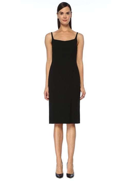 Doss Siyah İnce Askılı Midi Krep Elbise