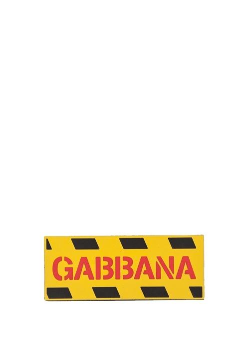 Sarı Dikdörtgen Formlu Logolu Sticker