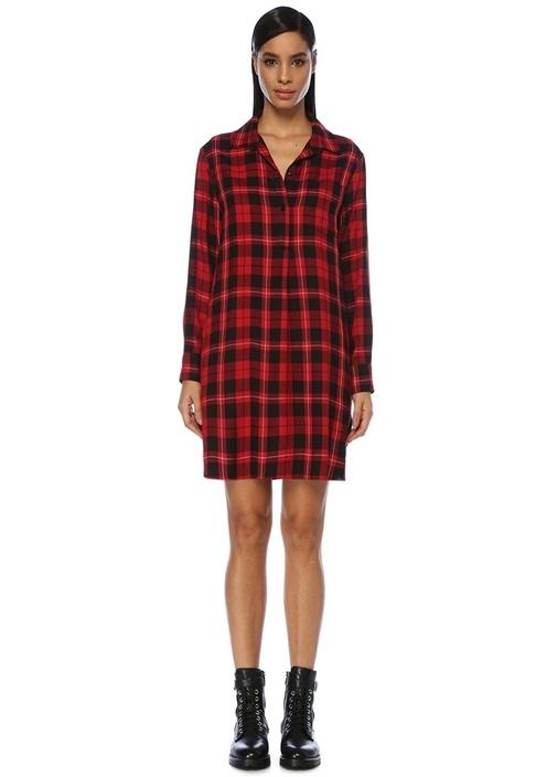 Kırmızı Ekoseli Mini Gömlek Elbise