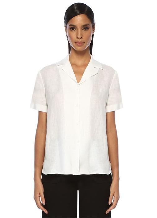 Beyaz Kısa Kol Keten Gömlek