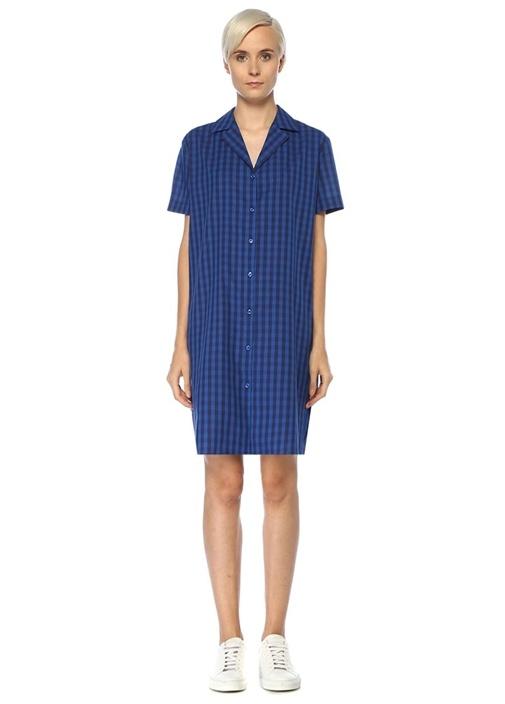 Mavi Kareli Kısa Kol Mini Gömlek Elbise