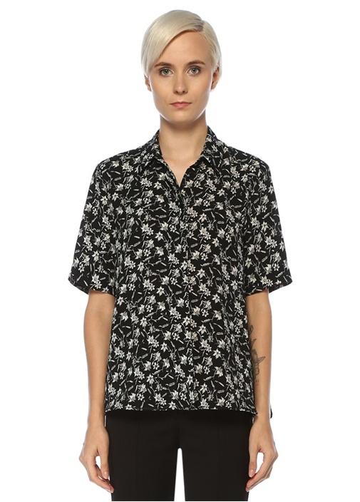 Siyah Çiçek Desenli Kısa Kol Gömlek