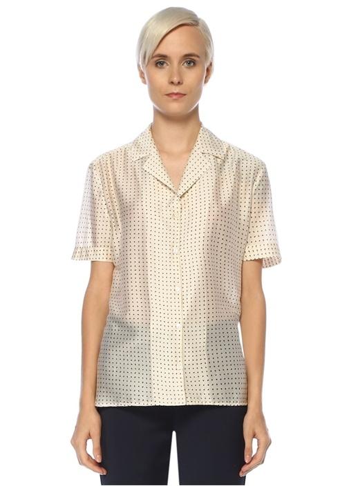 Beyaz Mikro Desenli Kısa Kol Gömlek