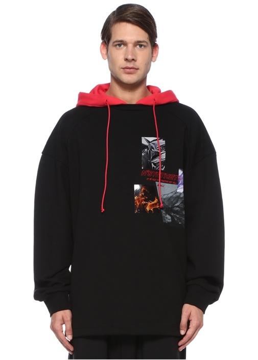 Siyah Kırmızı Kapüşonlu Oversize Sweatshirt