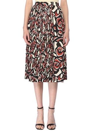 Beymen Collection Kadın Kiremit Siyah Pilili Karışık Desenli Midi Etek Kırmızı 36 female