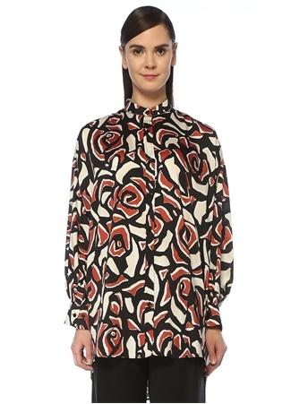 Beymen Collection Kadın Kiremit Siyah Desenli Zincir Şerit Detaylı Tunik Kırmızı 48 female