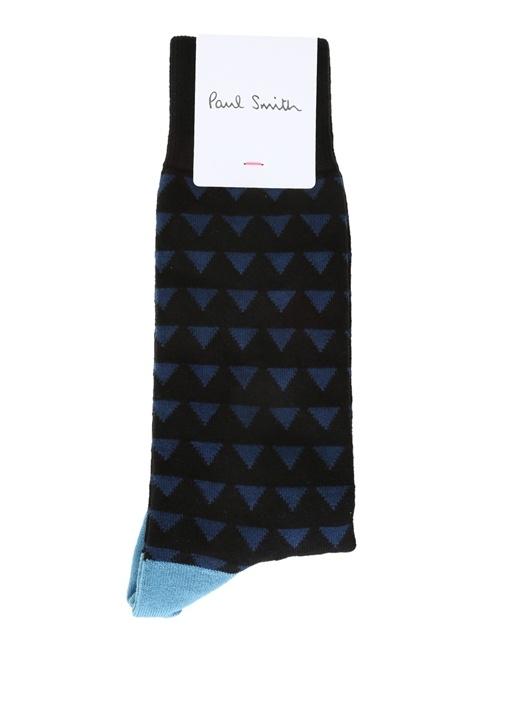 Mavi Siyah Geometrik Desenli Erkek Çorap