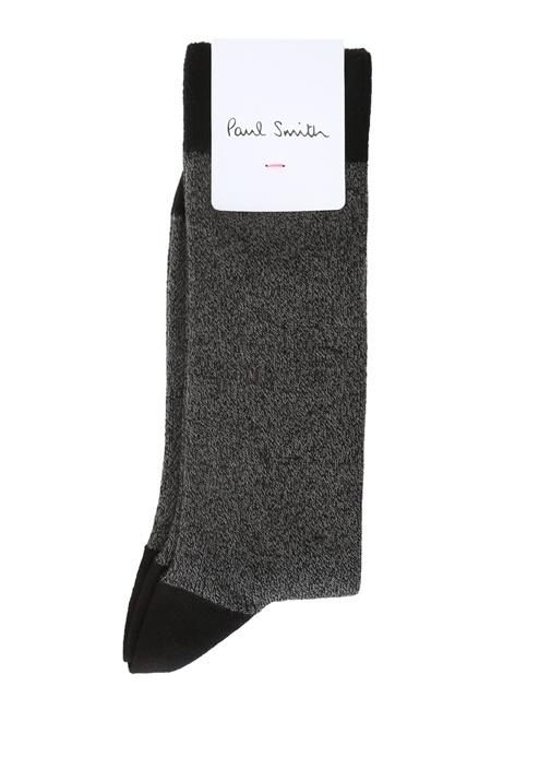Siyah Gri Kırçıllı Logolu Erkek Çorap