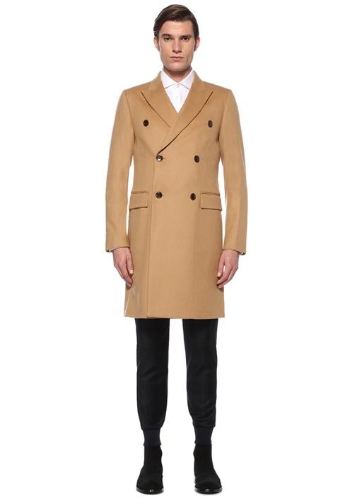 Bej Kırlangıç Yaka Yün Palto
