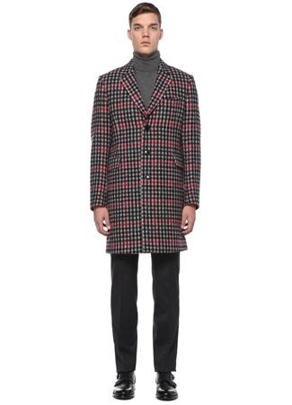 Paul Smith Erkek Kırmızı Siyah Kelebek Yaka Ekoseli Yün Palto 48 IT male