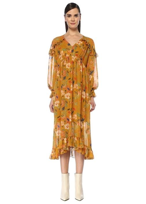 Sarı V Yaka Çiçekli Midi Şifon Bohem Elbise