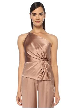 Michelle Mason Kadın Pembe Tek Kollu Düğüm Detaylı İpek Saten Bluz 6 US