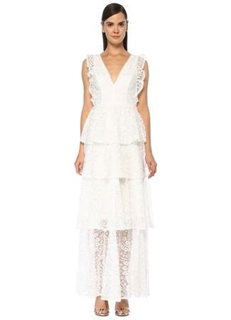 Ml Monique Lhuillier Kadın Beyaz V Yaka Nakışlı Maksi Kolsuz Abiye Elbise 2 US female