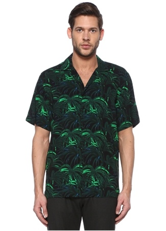 Academia Erkek Yeşil Tropik Desenli Gömlek Lacivert XL IT male