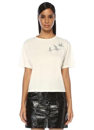 Beyaz Taş İşlemeli Kuş Patchli T-shirt