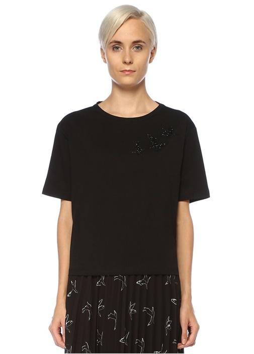 Siyah Kuş Motifli Taş Baskılı T-shirt