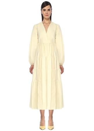 Beymen Collection Kadın Sarı V Yaka Balon Kol Kruvaze Midi Elbise Krem 34 female