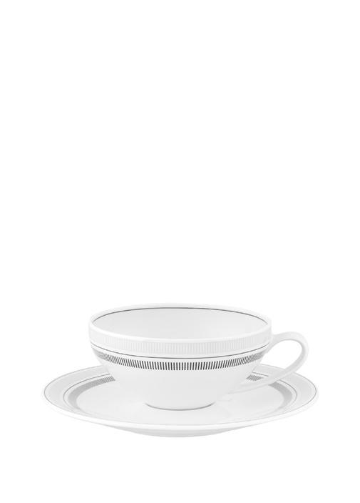 Elegant Çizgili Porselen Çay Fincanı VeTabağı