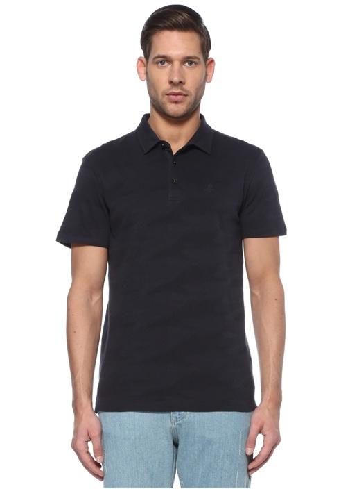Slim Fit Lacivert Kamuflaj Dokulu T-shirt