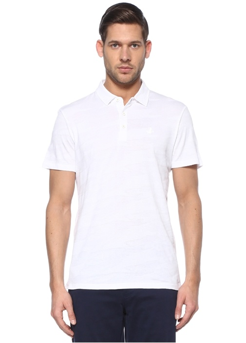 Slim Fit Beyaz Kamuflaj Dokulu T-shirt