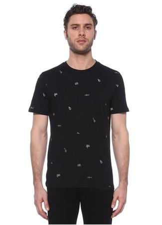 Beymen Club Erkek Siyah Mikro Baskı Detaylı Basic T-shirt XS male