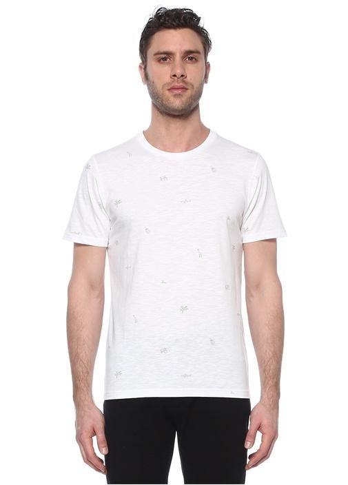 Beyaz Mikro Baskı Detaylı Basic T-shirt