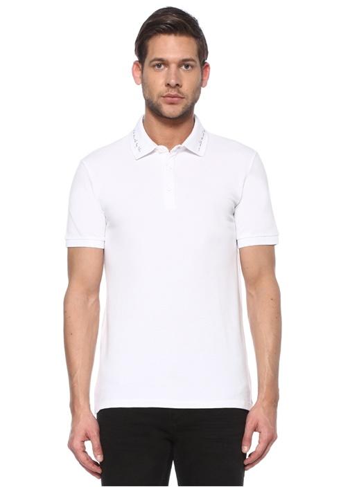 Slim Fit Beyaz Slogan Baskılı Polo Yaka T-shirt