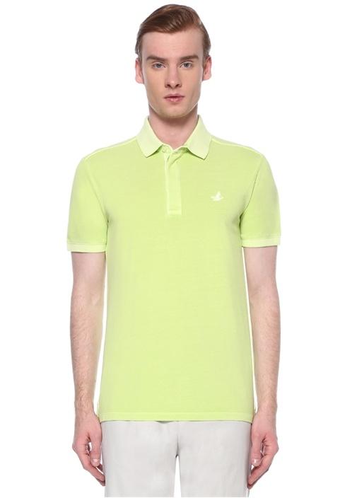 Slim Fit Yeşil Polo Yaka Logolu T-shirt