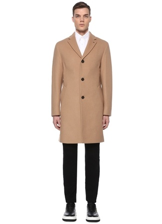 Calvin Klein Erkek Regular Fit Kamel Kelebek Yaka Yün Palto Kahverengi 52 EU male