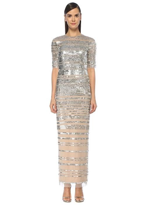 Silver İşlemeli Yarım Kol Maksi Tül Abiye Elbise