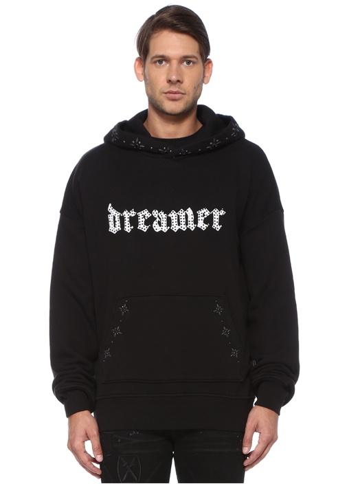 Dreamer Siyah Kapüşonlu Çiçek Troklu Sweatshirt