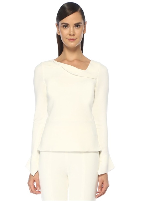 Boronia Beyaz Asimetrik Drapeli Uzun Kol Bluz