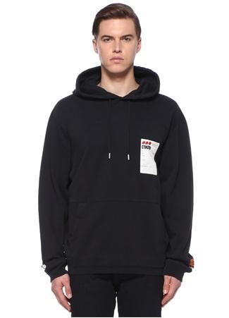 Erkek Sticker Label Lacivert Kapüşonlu Sweatshirt Siyah S EU