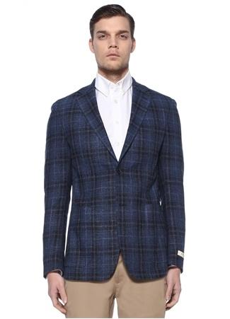 Beymen Collection Erkek Drop 8 Soft Mavi Ekoseli Yün Ceket 54 IT male