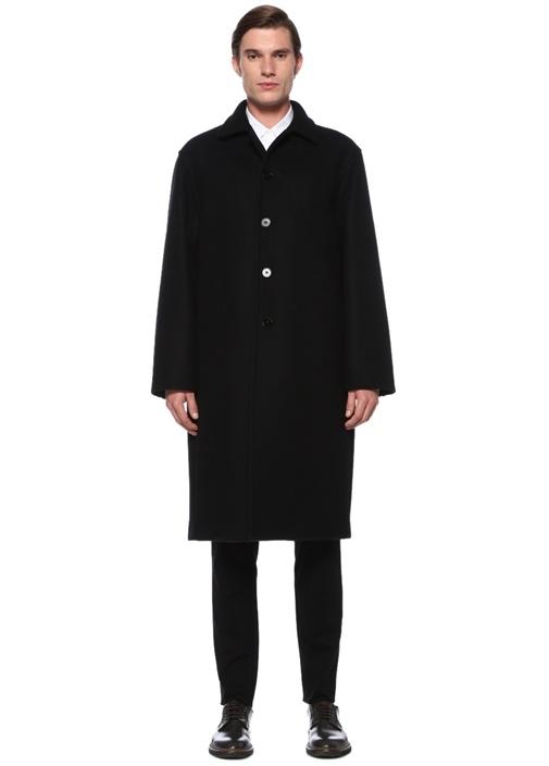 Siyah Polo Yaka Yün Palto