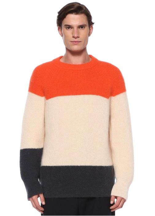 Colorblocked Örgü Dokulu Sweatshirt