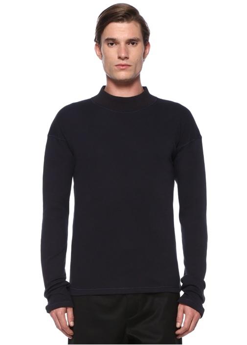 Lacivert Dik Yaka Dekoratif Dikişli Sweatshirt