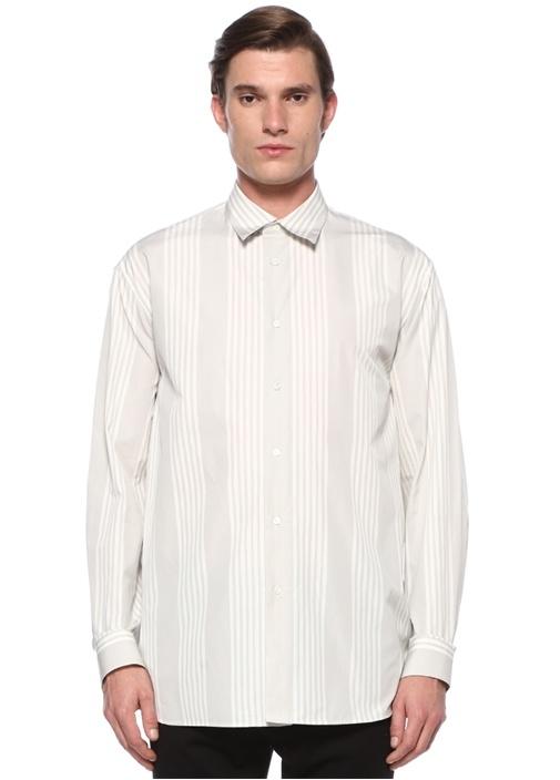 Gri Beyaz Sivri Yaka Çizgi Desenli Gömlek