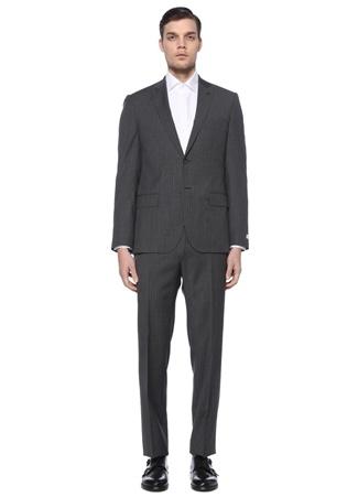 Beymen Collection Erkek Drop 8 Kırlangıç Yaka Çizgili Yün Takım Elbise Gri 46 IT male