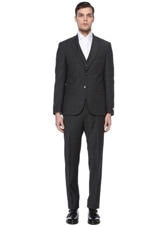 Beymen Collection Erkek Gri Ekose Desenli Mono Yelekli Yün Takım Elbise 54 IT male