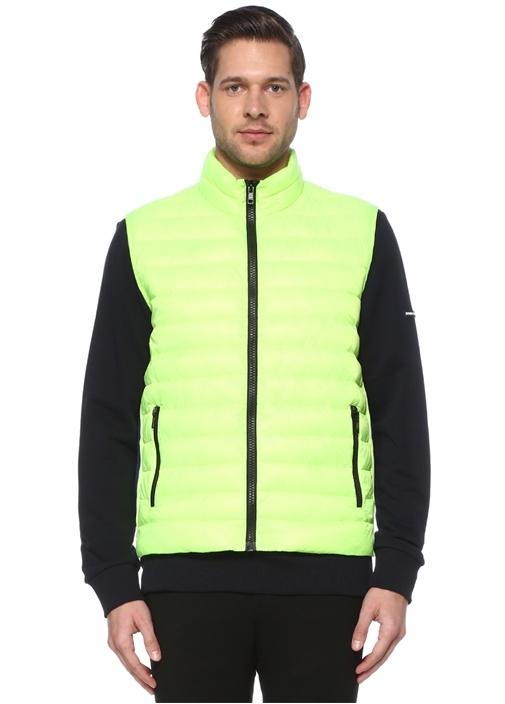 Neon Sarı Şerit Detaylı Puff Yelek