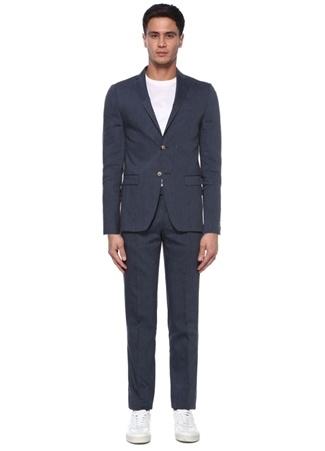 Beymen Club Erkek Drop 6 Mavi Kelebek Yaka Nopeli Keten Takım Elbise 52 male