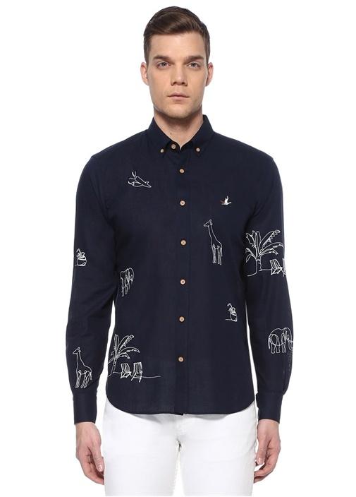 Comfort Fit Lacivert Safari Nakışlı Gömlek