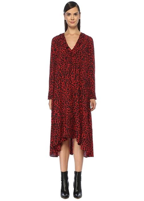 Rikota Kırmızı V Yaka Leopar Desenli Midi Elbise